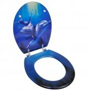 vidaXL WC Toilet Seat MDF Hard Close Lid Spectacular Look Dolphins