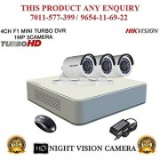 HIKVISION 2 MP 4CH DS-7104HQHI-F1 MINI Turbo HD 720P DVR + HIKVISION DS-2CE16DOT-IR TURBO BULLET CAMERA 3pcs CCTV COMBO