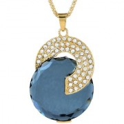 MissMister CZ and Black onyx Studded Gold plated Jewellery necklace pendant chain for Girls and Women