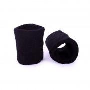 Merkloos Pols zweetbandjes zwart voor volwassenen 2 stuks