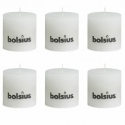Bolsius Rustic Pillar Candles 6 pcs 100x100 mm White
