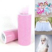 Fashion Tulle Roll 20D Polyester Wedding Birthday Decoration Decorative Crafts Supplies Size: 160cm x 25cm(Pink)