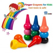 Tian Heng Finger Crayons for Kids, 12 Colours Wax Non Toxic, Palm Grip Colouring Paint Toddlers, Babies, Children, Boys, Girls, Stackable Toys