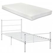 [en.casa]® Fémkeretes ágy matraccal - Fehér 90 x 200 cm - design vintage ágykeret