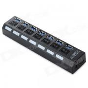 5Gbps 7 puertos USB 3.0 HUB c/ Switch individual + de la UE Plug Adapter -Negro