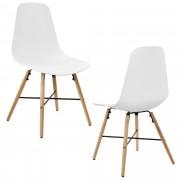 [en.casa]® Елегантен стол Eindhoven комплект от 2 броя, дървени крака 85,5 x 46 cm Бял