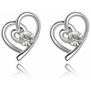 Nilu's Collection Charming Silver Plated White Austria Crystal Heart Shape Stud Earrings made for Girls Alloy Stud Earring ()