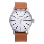 メンズ NIXON Sentry Leather 腕時計 シルバー