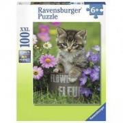 Детски пъзел - Коте в цветята - 100 елемента, Ravensburger, 7010847