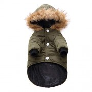 Questionno Pet Dog Puppy Costume Casual Jacket Hoodie Coat Winter Warm Clothes (M)