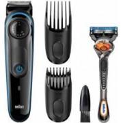 Aparat de tuns barba Braun BT3040 + Gillette Fusion FlexBall Wet-Dry 39 setari lungime Alb-Albastru