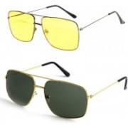 Royalmede Rectangular, Rectangular Sunglasses(Yellow, Black)