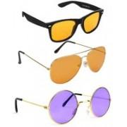 Elligator Aviator, Wayfarer, Round Sunglasses(Yellow, Orange, Violet)