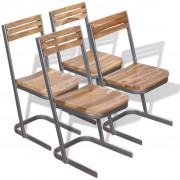 vidaXL Dining Chairs 4 pcs Solid Teak Wood