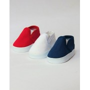 """3 Pack of Canvas Slip Ons: Red, White, and Blue 