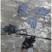 Berlock svartfärgad - Hamsa filigree 5- pack