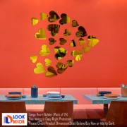 Look Decor-12 Large 12 Small Heart-(Golden-Pack of 24)-3D Acrylic Mirror Wall Stickers Decoration for Home Wall Office Wall Stylish and Latest Product Code Number 1035