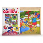 Caillou 4 In 1 Wooden Puzzles [12 Pieces Each Assorted Puzzle Images] Caillou Washes The Car 4 In1 Wood Puzzle