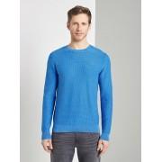 TOM TAILOR Gewassen Look getextureerde trui, victory blue, XL