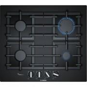 GARANTIE 2 ANI Plita cu gaz Bosch, 4 arzatoare, tehnologie FlameSelect, 60 cm, sticla neagra PPP6A6B90