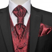 vidaXL Мъжка жилетка за сватба, комплект, пейсли мотив, размер 50, бордо