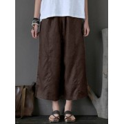 Meco Women Retro High Elastic Waist Wide Leg Pants