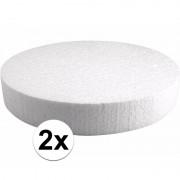 Rayher hobby materialen 2x Piepschuim schijven 25 cm breed en 4 cm dik