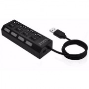 METTLE-Mini USB 2.0 Hub 4 Ports 5GBps Fast Speed Hub- On/Off Switch USB Splitter Adaptor Cable For PC/Laptop MT-USBH1702