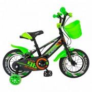 """Bicicleta Copii Rich Baby R1207A, Roti 12"""", C-Brake, cosulet, roti ajutatoare cu LED (Verde/ Negru)"""