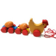 Crafts India Handcrafted Wooden Rolling Chicken Eggs Pull along assembly Car