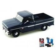 Diecast Car & Garage Diorama Package - 1966 Chevy C10 Fleetside Pickup Truck, Dark Blue - Motormax 73355 - 1/24 scale Diecast Model Toy Car w/Garage Diorama