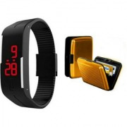 Bm fashion led band watch and card holder color assorted