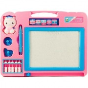 Double Sided Magnetic Slate Whiteboard and Blackboard with Chalk Duster and Stylus for Boys and Girls. Comes in Multi C