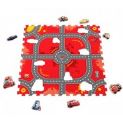 Covor puzzle din spuma Soft Cars 3 Modular Race 9 piese