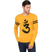 TRENDS TOWER Full Sleeve Round Neck Thumb Ring Mens T-Shirt Mustard Color Om Graphics Print