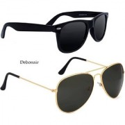 Debonair Combo UV Protected Aviator Wayfarer Sunglasses For Unisex (Combo - Black)