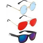 Elligator Round, Aviator, Wayfarer Sunglasses(Blue, Red, Blue)