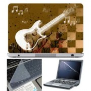 FineArts Laptop Skin - White Gutar Brown Checks With Screen Guard and Key Protector - Size 15.6 inch