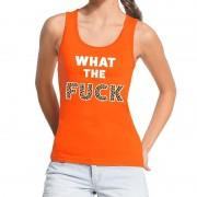 Bellatio Decorations What the Fuck tijgerprint tekst tanktop / mouwloos shirt oranje S - Feestshirts