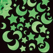 Baker Ross Star Stickers - Glow in the Dark Star Stickers. 120 stars & moons made from luminescent self-adhesive foam. Size 10mm-35mm wide.
