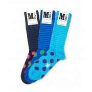 MrD London [3 Packs] Assorted Blue Stripe Socks B19-003