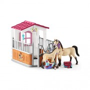 Schleich Horse Club Stall with Arabian Horses & Groomer Toy Figure