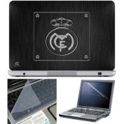 Finearts Laptop Skin Real Madrid Black Texture With Screen Guard And Key Protector - Size 15.6 Inch