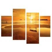 Multicanvas leagan pe plaja in apus