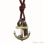 Antique Vintage Men's Jewellery Adjustable Pendant Necklace unisex Long Brown Leather Chain Bronze Cross Circle Style