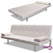 vidaXL Sofa Krevet od Umjetne Kože s Dva Jastuka Podesiva Krem Bijela