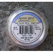 Artistic Wire 18 Ga - Silver pläterad,Non tarnish, 1 rulle