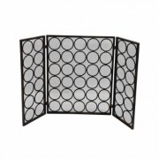 Noble House Hartly Modern Black and Gold Three Panel Iron Fire Screen