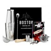 Set Premium cocktail Boston Andrew james AJ001328, Cutie cadou, 10 Piese, Carte retete