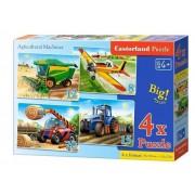 Puzzle 4 in 1 - Masinarii de ferma, 55 piese
